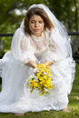 Jilted bride a pretty young summer distressed on her wedding day Stock Photo