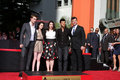 Jimmy Kimmel, Kristen Stewart, Robert Pattinson, Taylor Lautner, Stephanie Meyers Imagem de Stock