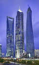 Jin Mao, Shanghai Tower and Shanghai World Financial Center at twilight Royalty Free Stock Photo