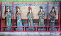 Jinci Memorial Temple(museum) scene. Maidservants coloured clay sculpture at the Saintly Mother hall Royalty Free Stock Photo
