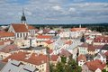 Jindrichuv hradec czech republic center of historic town from tower castle southern bohemia Stock Photography