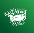 Jine world environment day lettering text for greeting card illustration in vector format Stock Image