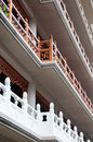 Jingan temple balconies a perspective image of the many rails and at jing an in shanghai china Stock Photography
