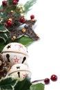 Jingle bell and star Christmas border Royalty Free Stock Photo