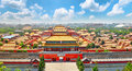Jingshan Park,panorama above on  the Forbidden City, Beijing. Royalty Free Stock Photo