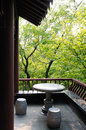 Jinling corner of the garden this is chinese park in nanjing a scene a side pavilion angle placed a stone table and chairs can Royalty Free Stock Photos