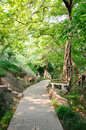 Jinling corner of the garden here is chinese nanjing yanziji park one along mountain path there is a stone seat long chairs along Royalty Free Stock Images