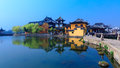 Jinxi pond and temple at ancient town Stock Images