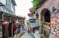 Jiufen old street taiwan march tourists can seen walking through the along the there are shops vending the most Royalty Free Stock Images