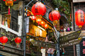 Jiufen taiwan hillside teahouses in Stock Image