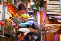 Jiufen taiwan january tourists walk down famed steps january taipei tw gold mining town developed under japanese rule city now Royalty Free Stock Photo