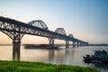 Jiujiang yangtze river bridge at dusk Royalty Free Stock Photo