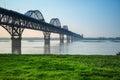 Jiujiang yangtze river bridge in spring Royalty Free Stock Photo