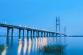 Jiujiang yangtze river highway bridge in nightfall Royalty Free Stock Photo