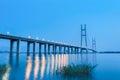 Jiujiang yangtze river highway bridge in nightfall Royalty Free Stock Photo