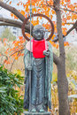 Jizo in front of benten hall temple at ueno park tokyon Stock Image