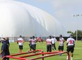 Jj watt at houston texans training camp in the defensive line warming up including Stock Photo