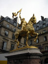 Joan of arc statue patron saint france on the rue de rivoli across from the louvre museum in paris Stock Photos