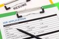 Job application and resume Royalty Free Stock Photo