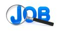 Job concept with magnifying glass blue word on white Stock Images