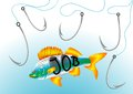 Job hunt abstract fish hooks in search of work Stock Image