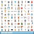 100 job icons set, cartoon style