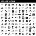 100 job icons set, simple style