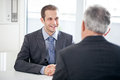 Job interview a candidate for a talking to the interviewer Royalty Free Stock Photo