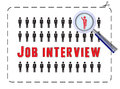 Job interview with magnifier illustrated poster for a the concept of competitivness and uniqueness Stock Image
