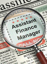 Job Opening Assistant Finance Manager. 3D.