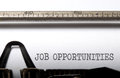 Job opportunities typed on a vintage typewriter Stock Photos