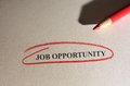 Job opportunity text circled in red pencil Stock Images