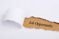 Job opportunity written on brown paper with white paper teardrop Stock Images