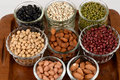 Job's tears, Soy beans, Red beans, black beans, Peanut, pine nut, Almond and green beans Royalty Free Stock Photo
