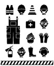 Job safety black icons. Personal protective Royalty Free Stock Photo
