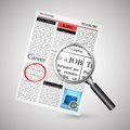 Job search in newspaper illustration of searching with magnifying glass Royalty Free Stock Image