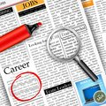 Job search in newspaper illustration of searching with magnifying glass Stock Photography