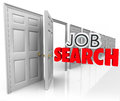 Job search open door new career opportunity d words in letters coming out an to illustrate a Royalty Free Stock Photos