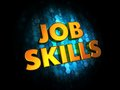 Job skills concept on digital background golden color text dark blue Royalty Free Stock Images