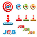 Job target set of d colorful icons in different style on white background Royalty Free Stock Image
