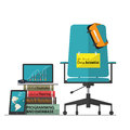 Job vacancy advertisement for Data Scientist with office workplace chair in flat design.