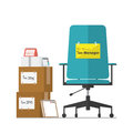 Job vacancy advertisement for Tax Manager with office workplace chair in flat design.