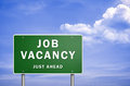 Job vacancy just ahead road sign illustration Royalty Free Stock Images
