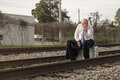 Jobless senior businessman on railroad track Stock Photos