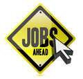 Jobs ahead and cursor illustration sign Stock Photo