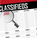 Jobs careers search classifieds background illustration Stock Image