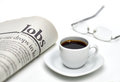 Jobs newspaper with coffee and cup of on white background shallow depth of field Stock Photo