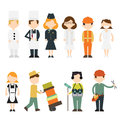 Jobs set of differents characters about their job and craft Royalty Free Stock Image