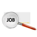 Jobs symbol with lupe Stock Images
