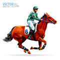 Jockey on horse. Champion. Horse racing. Hippodrome. Racetrack. Jump racetrack. Horse riding. Racing horse coming first Royalty Free Stock Photo